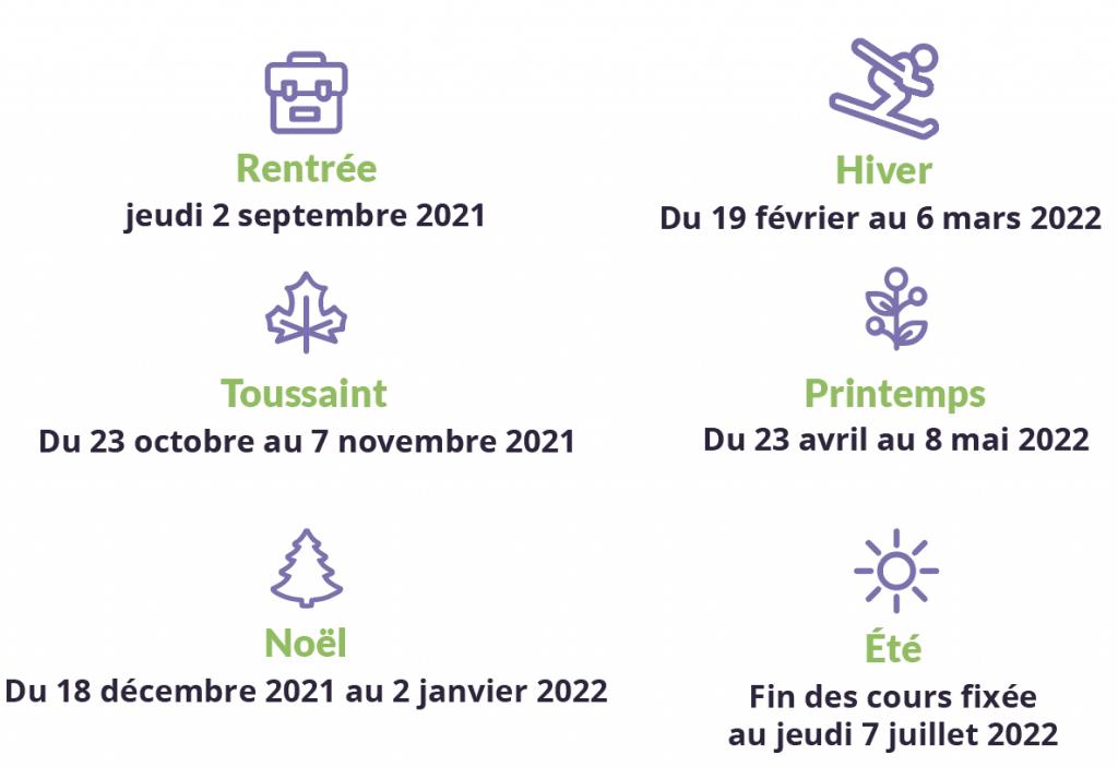 vacances scolaires 2021-2022